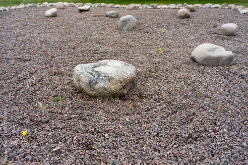 In de dag Stenen in het Zand Feng Shui garden zen stones