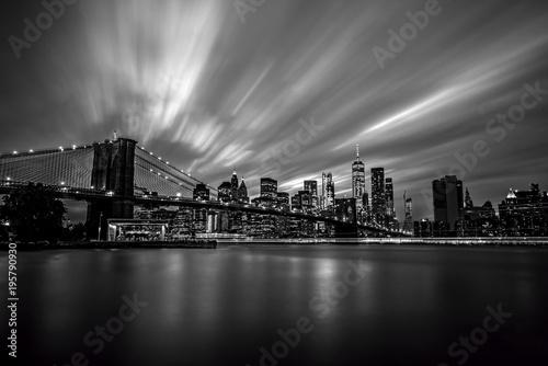Foto Spatwand Brooklyn Bridge Black and White Manhattan