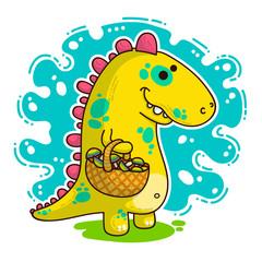 Cool Dino doodle illustration © Giingerann