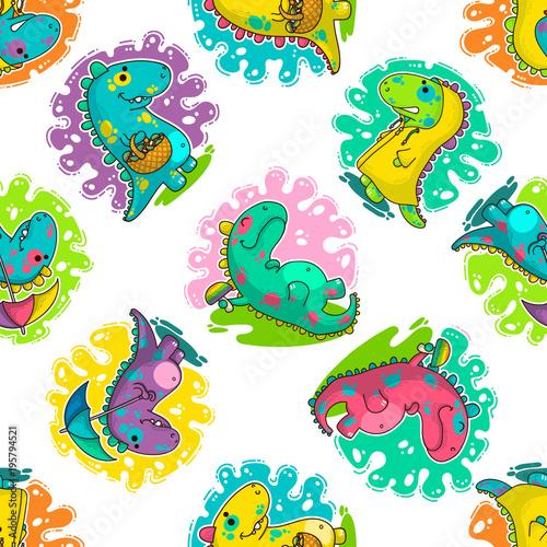 Fototapeta Cool Dino doodle vector pattern