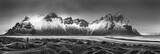 Vestrahorn mountain range and Stokksnes beach panorama, near Hofn, Iceland. An unidentifiable photographer captures the scenery. - 195795774