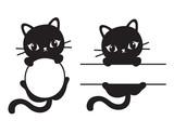 Fototapeta Koty - Cute black silhouette cat round and rectangular frame vector illustration.  © JungleOutThere