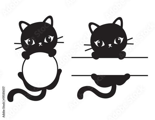 Fototapeta Cute black silhouette cat round and rectangular frame vector illustration.