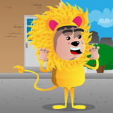 Boy dressed as lion is trying to scare you. Vector cartoon character illustration.