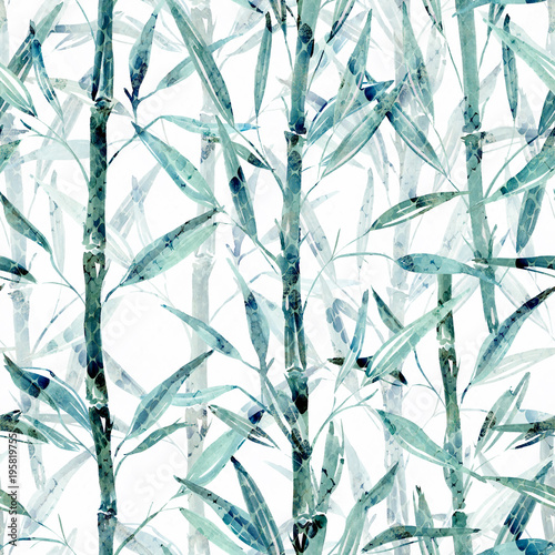 Seamless Botanical pattern. Bamboo branches on a white background.  - 195819755