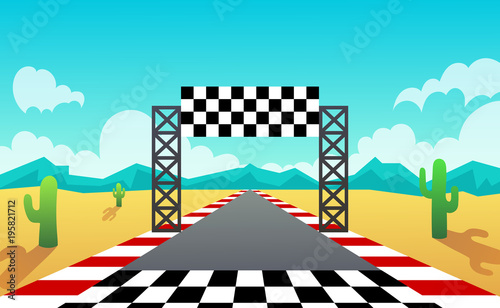 Fotobehang Turkoois racing track. landscape. desert. vector illustration