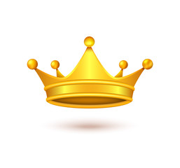 Vector realistic golden crown, metal headdress of royal person, emperor, monarch, king or queen isolated on background. Symbol of power, monarchy, success, wealth, vip emblem, element for your design