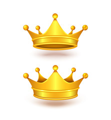 Vector realistic set of two golden crowns, metal headdress of royal person, emperor, monarch, king or queen isolated on background. Symbol of power, monarchy, success, wealth, element of vip emblem