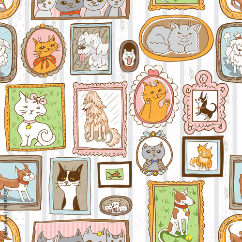 cats and dogs portraits seamless vector pattern