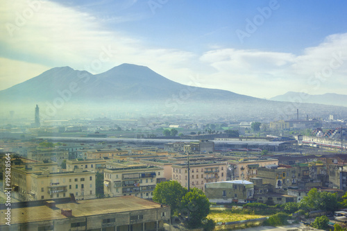 Poster Napels Vesuvius volcano and the city of Naples in morning haze, mist in early morning, Naples, Campania, Italy