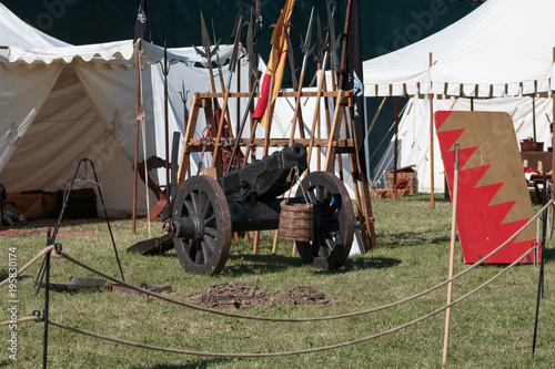 Antique Medieval Metallic Cannon on Wheels Poster