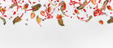Various flying or falling berries with red chard leaves and splash of juice  on white background, banner or template - 195830741