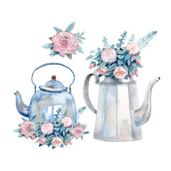 A set of two vintage watercolor kettles with bouquets of roses painted with watercolor. A cozy tea time greeting card. © Julia Tochilina