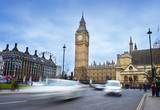 car traffic in London city. Big Ben in background, long exposure photo - 195834785
