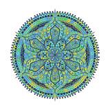 Mandala. Green blue oriental decorative flower pattern - 195835101