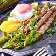 green asparagus from the grill with egg - 195840179