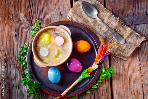 easter decoration with polish easter soup - 195840345