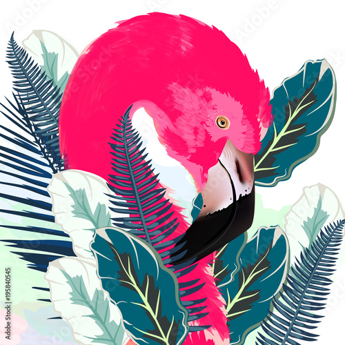 Beautiful vector illustration with drawn pink flamingo and palm leafs - 195840545