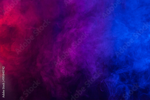 Violet and blue smoke or flame texture on a black background. Texture and abstract art - 195840742