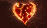 Gebrochenes Herz in Flammen