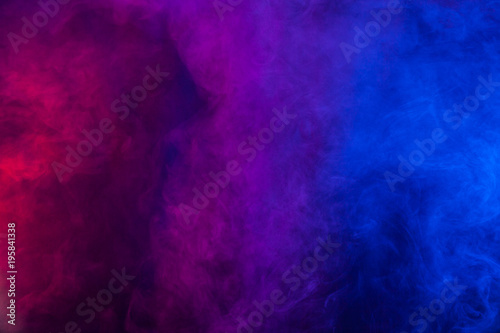 Violet and blue smoke or flame texture on a black background. Texture and abstract art - 195841338