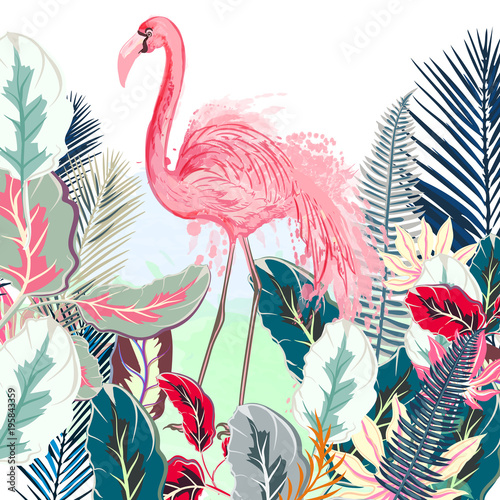 Tropical vector illustration with pink flamingo and tropical leafs - 195843359