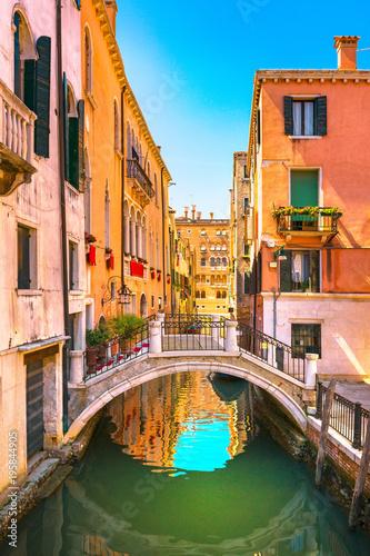 Fototapeta Venice cityscape, buildings, water canal and bridge. Italy