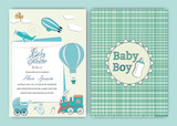 Hot air balloon baby shower party invitation card template. vector illustrator.