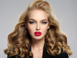 beautiful young blond girl with sexy red lips.