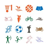 Sport Icon Set with fruits, basketball , fuits, ball, apple , water sport, pictogram and soccer