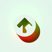 Arrow Circle Up Icon 3d   Arrow Circle Send Top Up Upload Icons  Orange And Green Gradient Shadows Sticker