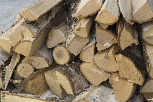 Keuken foto achterwand Brandhout textuur Chopped logs. Firewood Close-up