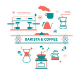 Vector illustration set of coffee preparation for coffeeshop with typography word: