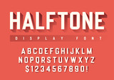 Vector display font design with halftone shadow, alphabet, chara - 195863518
