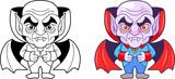 funny cartoon vampire, vector illustration - 195864942