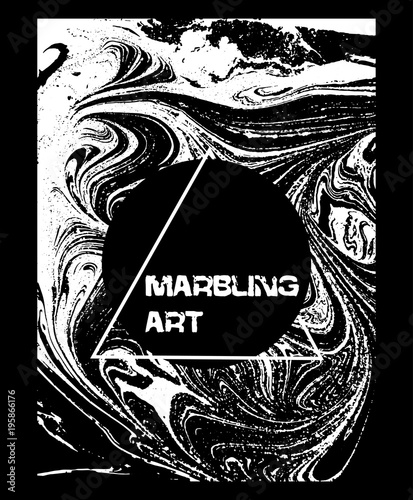 Marbled black and white abstract background. Liquid marble pattern. Vector fluid texture. Business template design.