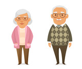 funny cartoon pensioners in casual clothes - 195867559