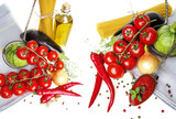 healthy italian food on a white background - 195876945