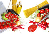 italian food with vegetable, olive oil, spaghetty and tomato ketchup on white background - 195877163