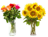 roses in vase and sunflowers in vase isolated on white - 195878109