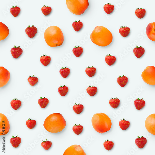 Pattern made of apricots and strawberries, top view - 195880319