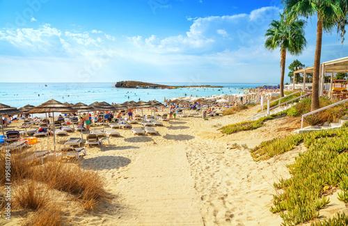 Nissi beach in Aiya Napa, Cyprus. Ayia Napa coastline.