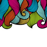 Wavy curled seamless pattern. Abstract outline colorful texture - 195887169