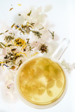 herbal tea in glass cup - 195889128