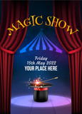 Magic Show poster design template. Illusion magical vector background. Theater magician flyer with hat trick - 195889182
