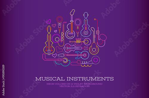 Fotobehang Abstractie Art Musical Instruments Neon