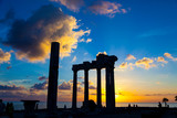 Ruins of an ancient Roman temple during sunset - 195894325