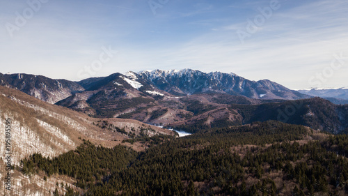 Foto op Canvas Cappuccino Winter landscapes over the Carpathian mountains peaks