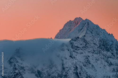 Winter mountain morning panorama, Gerlach peak, Tatra mountains