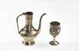 ancient Arabic silver teapot on white isolated background - 195897342